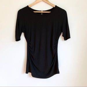 Ann Taylor Ruched Bodice Black Short Sleeve Blouse